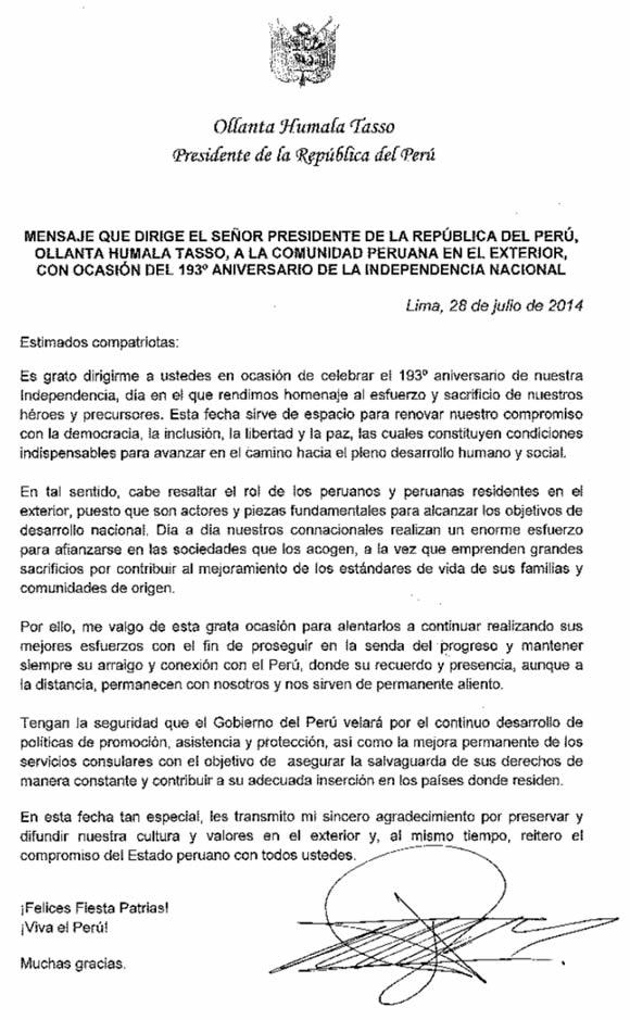 Mensaje del Presidente Humala a la Comunidad Peruana en el Exterior julio2014