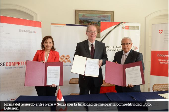 Firma acuerdo Perú Suiza para mejorar competitividad